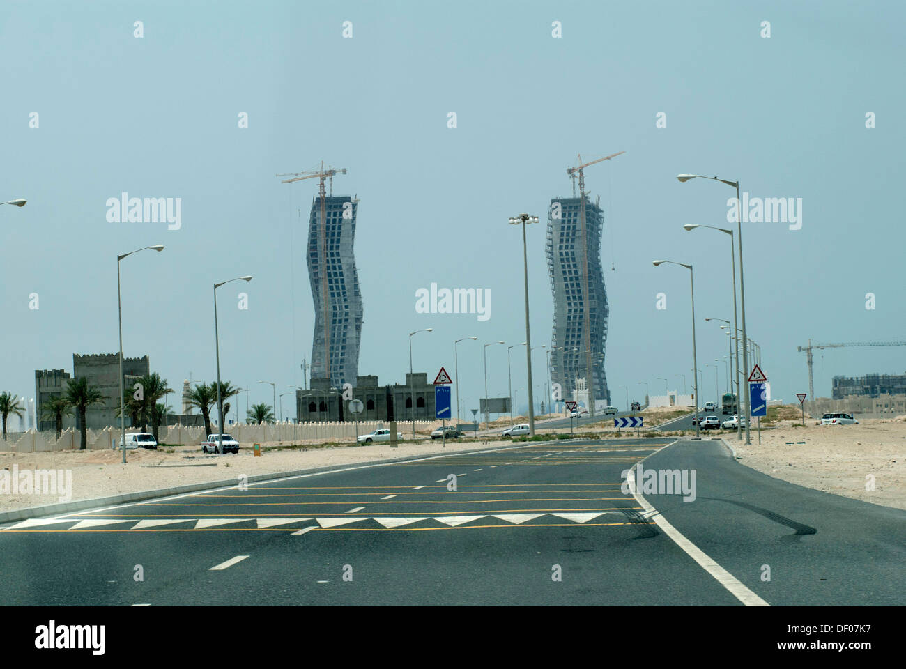Doha Qatar architecture buildings construction and road view - Stock Image