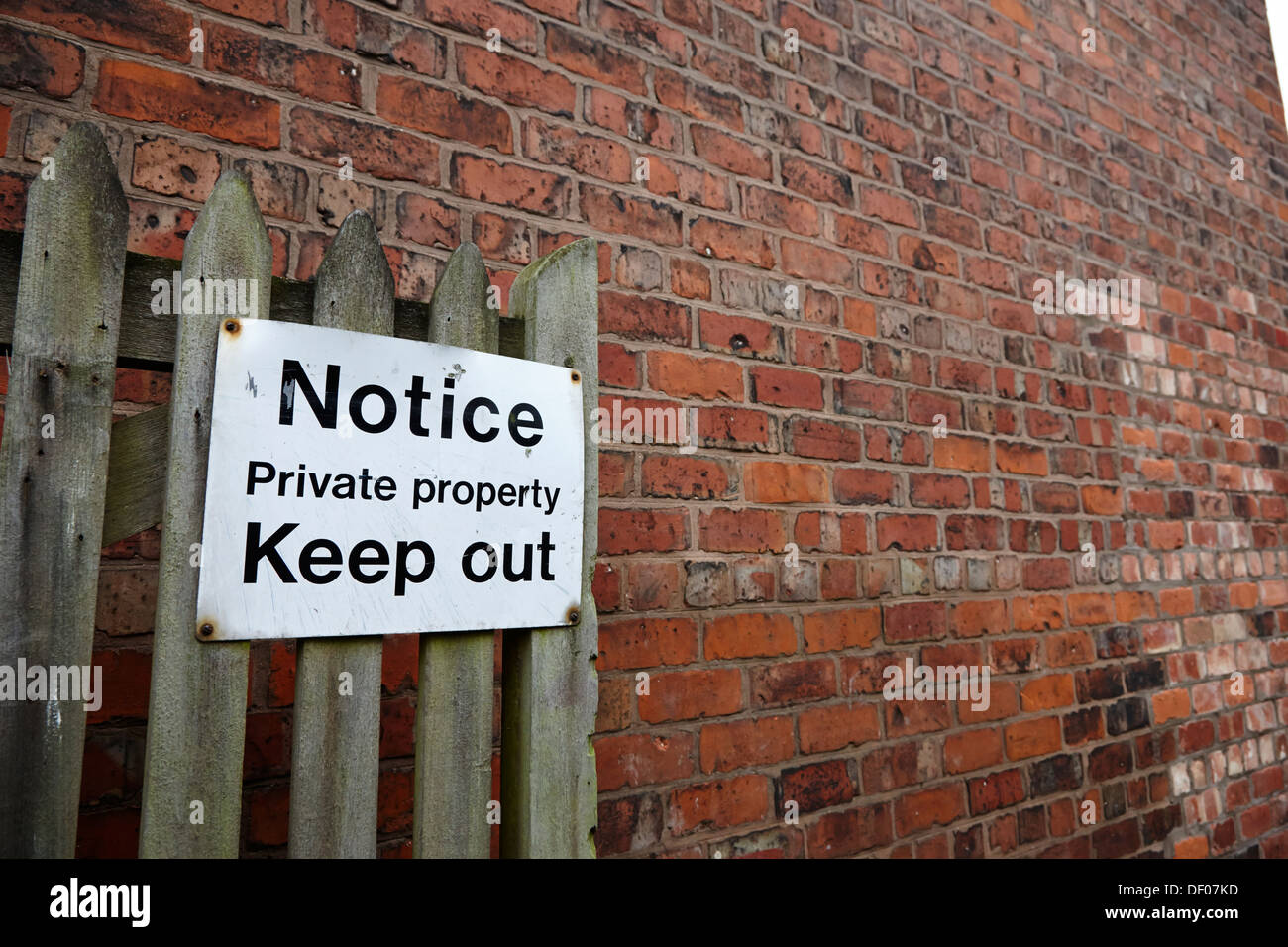 notice sign for private property keep out england uk - Stock Image