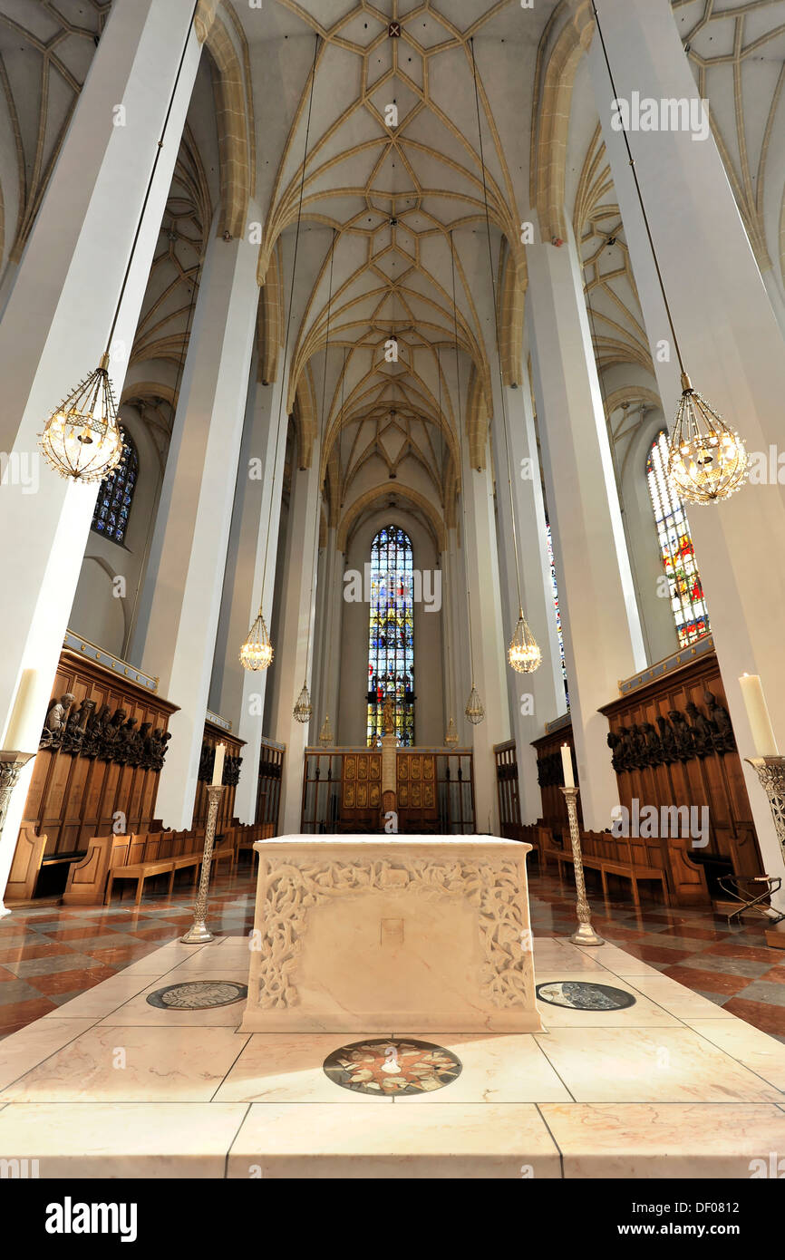 Interior view, high vaulted ceilings, Frauenkirche, Church of Our Lady, Munich, Bavaria - Stock Image