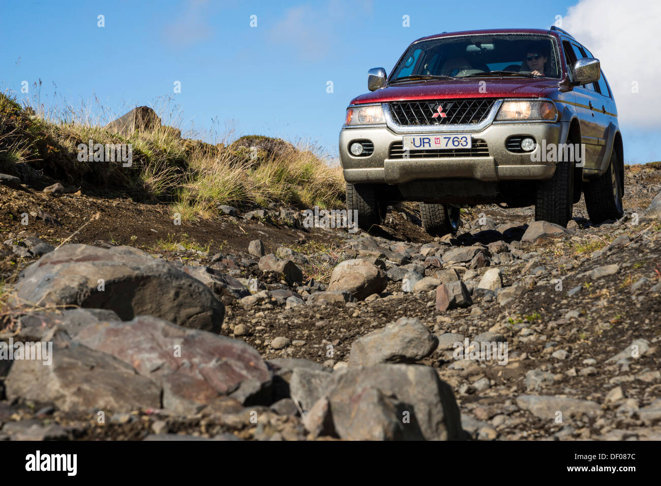 Jeep or SUV on upland dirt road, highlands, Iceland, Europe - Stock Image