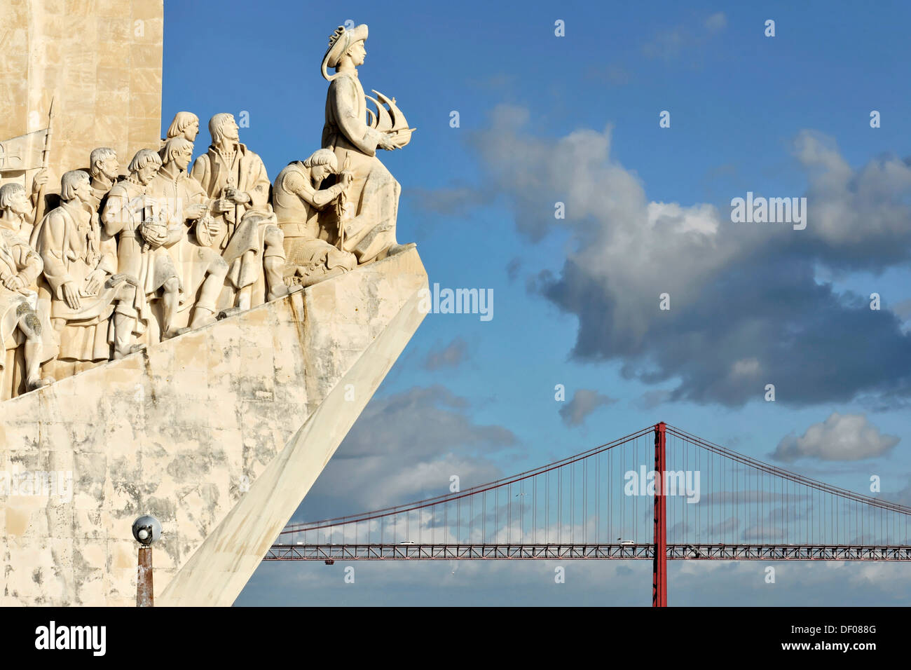 Padráo dos Descobrimentos, Monument to the Discoveries, monument with major Portuguese seafaring figures on the banks of the - Stock Image