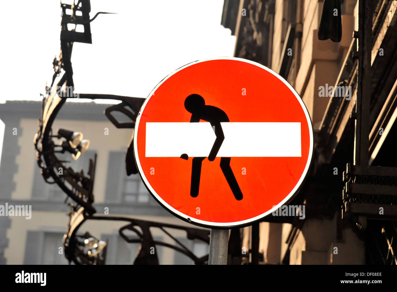 Changed traffic sign, no entry for vehicular traffic, passage prohibited, Milan, Italy, Europe - Stock Image