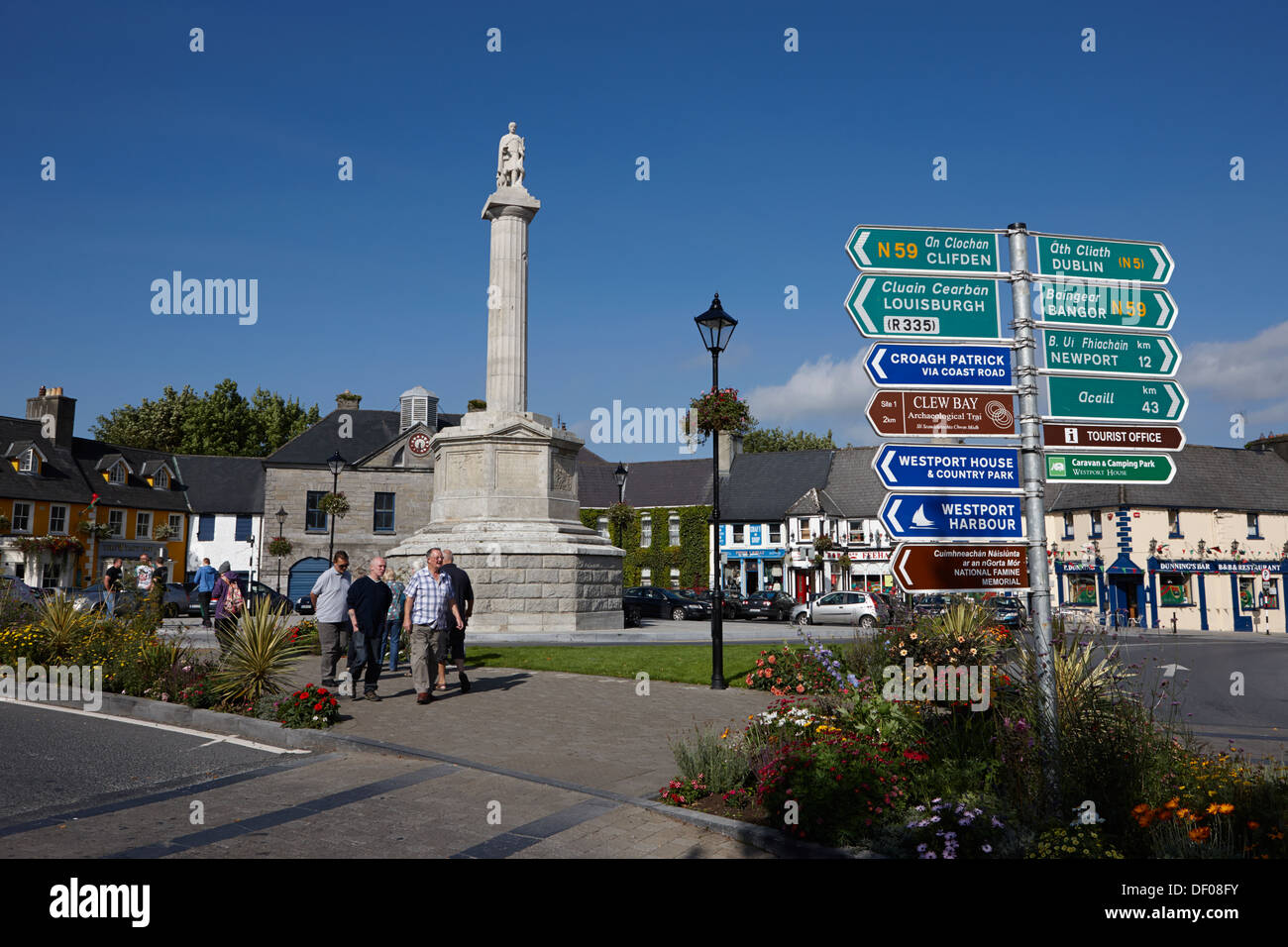 the octagon with statue of st patrick westport county mayo republic of ireland - Stock Image