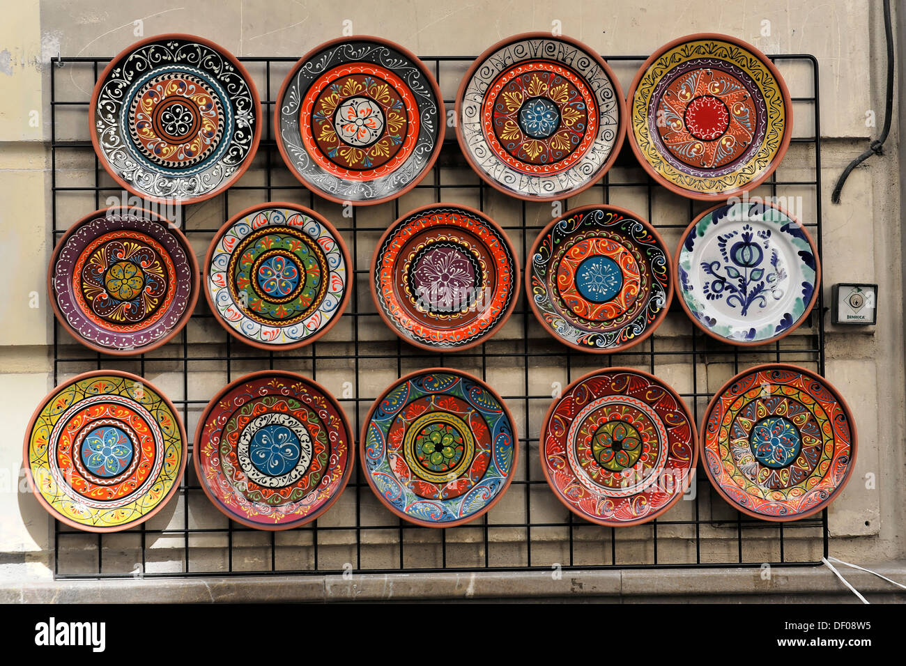 Colourful ceramic plates souvenirs in a gift shop Andalucia Spain Europe & Colourful ceramic plates souvenirs in a gift shop Andalucia Spain ...