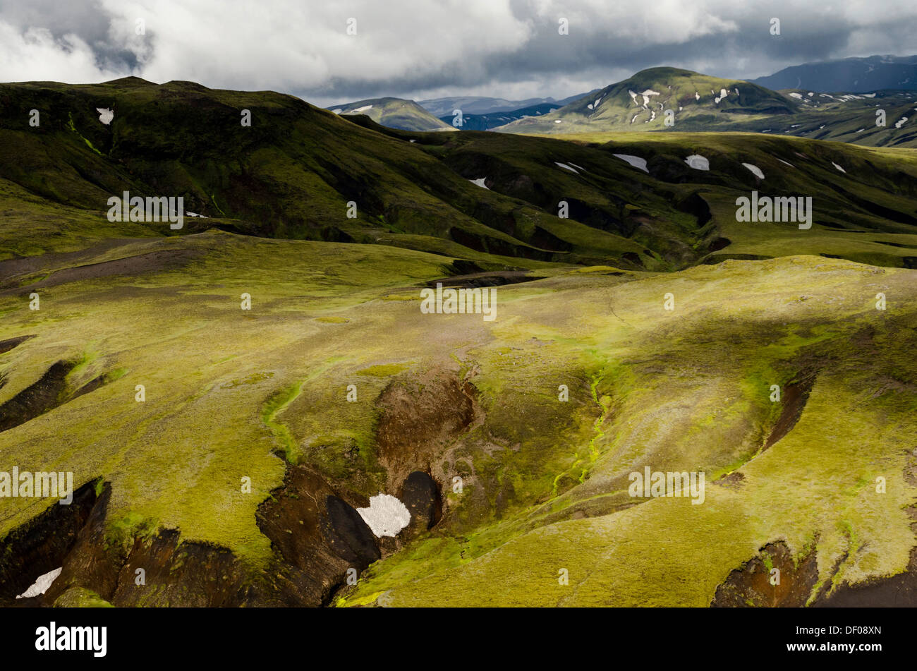 Aerial view, moss-covered landscape, Icelandic Highlands, Iceland, Europe Stock Photo