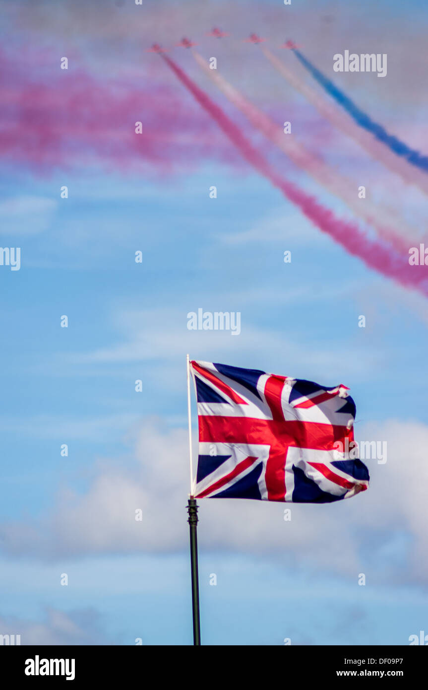 Red arrows and union flag - Stock Image
