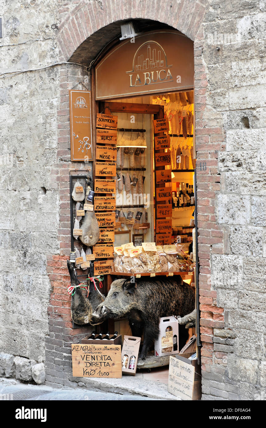Specialist store for wild boar ham, food, mementos, souvenirs, medieval town centre, San Gimignano, Tuscany, Italy, Europe - Stock Image