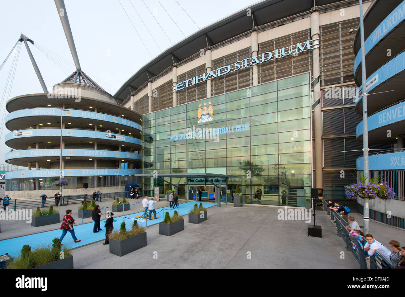 An external view of the Etihad Stadium, home of Manchester City Football Club (Editorial use only). - Stock Image