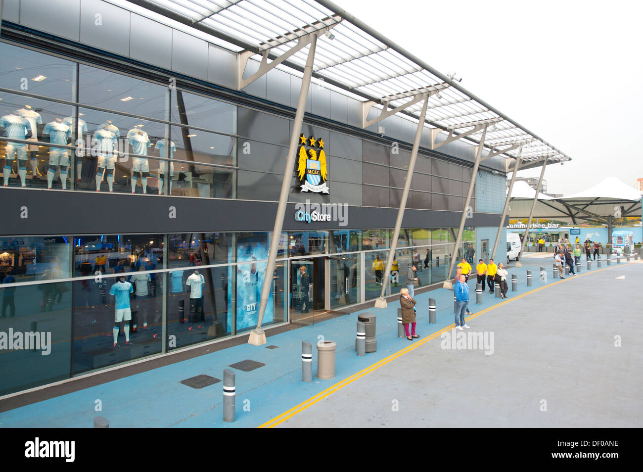 The CityStore merchandising store at the Etihad Stadium, home of Manchester City Football Club (Editorial use only). Stock Photo