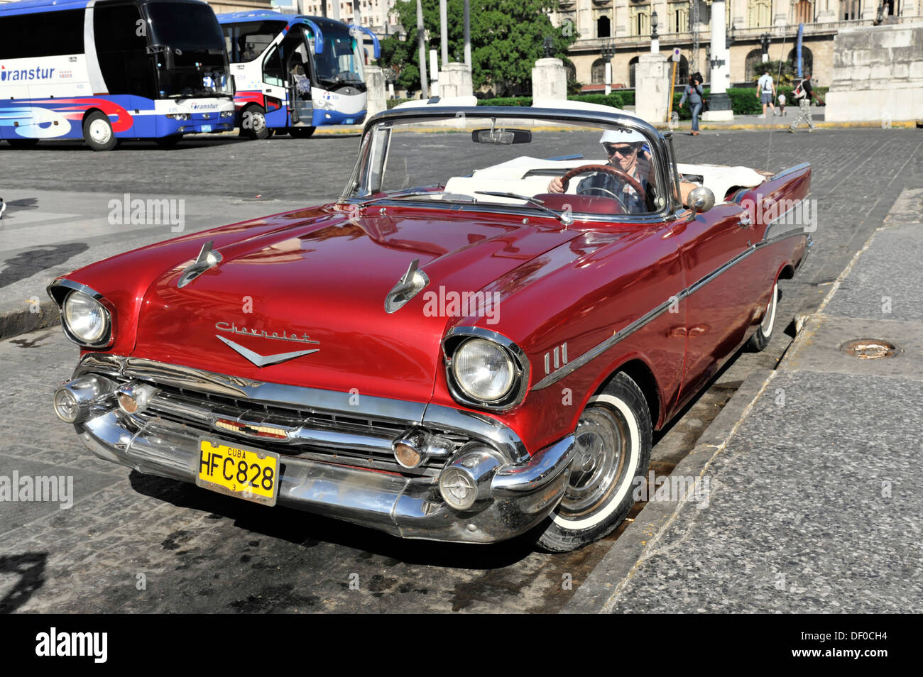 chevrolet convertible classic car from the 50s in central havana