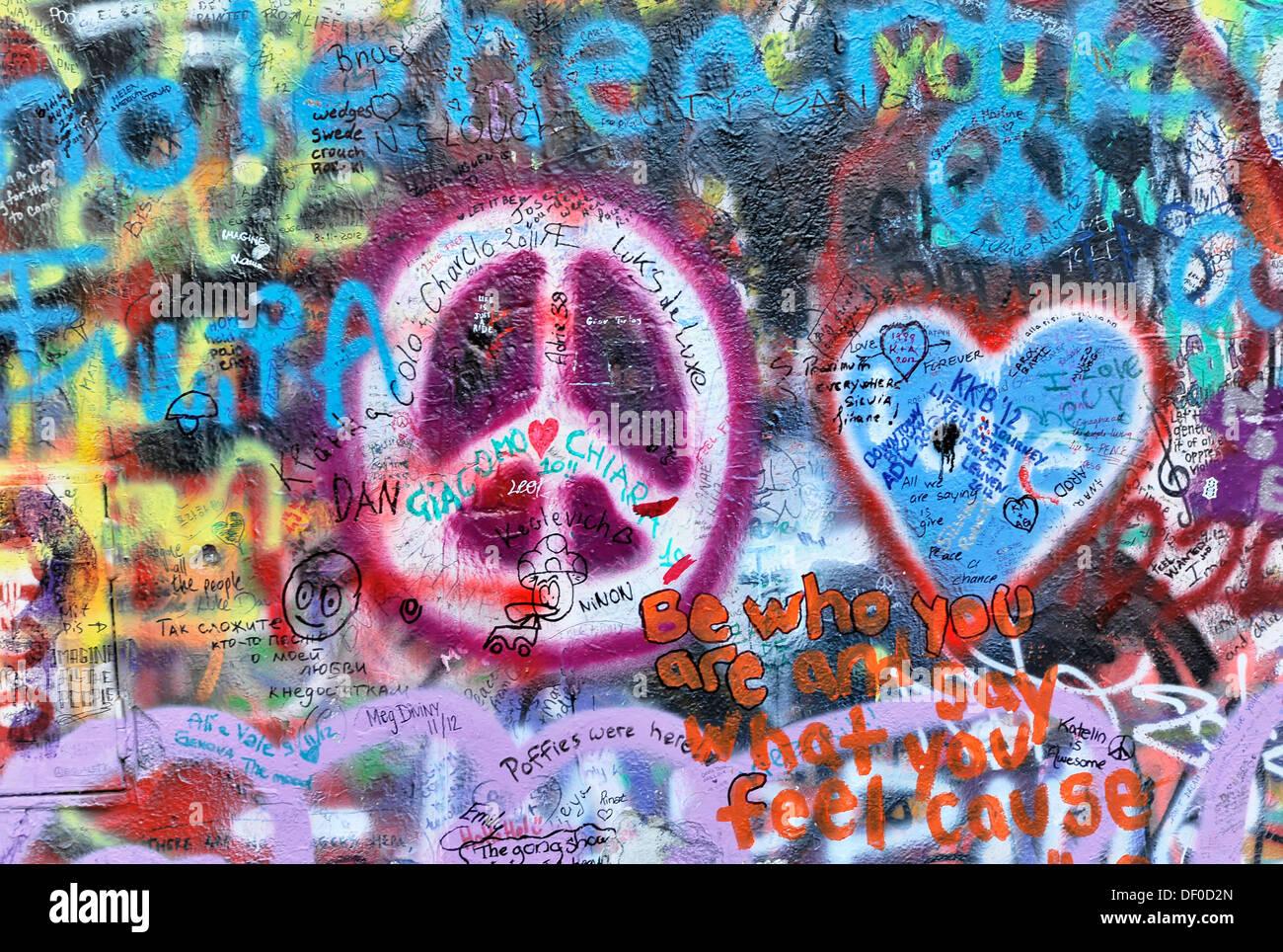John Lennon wall, graffiti, Prague, Czech Republic - Stock Image