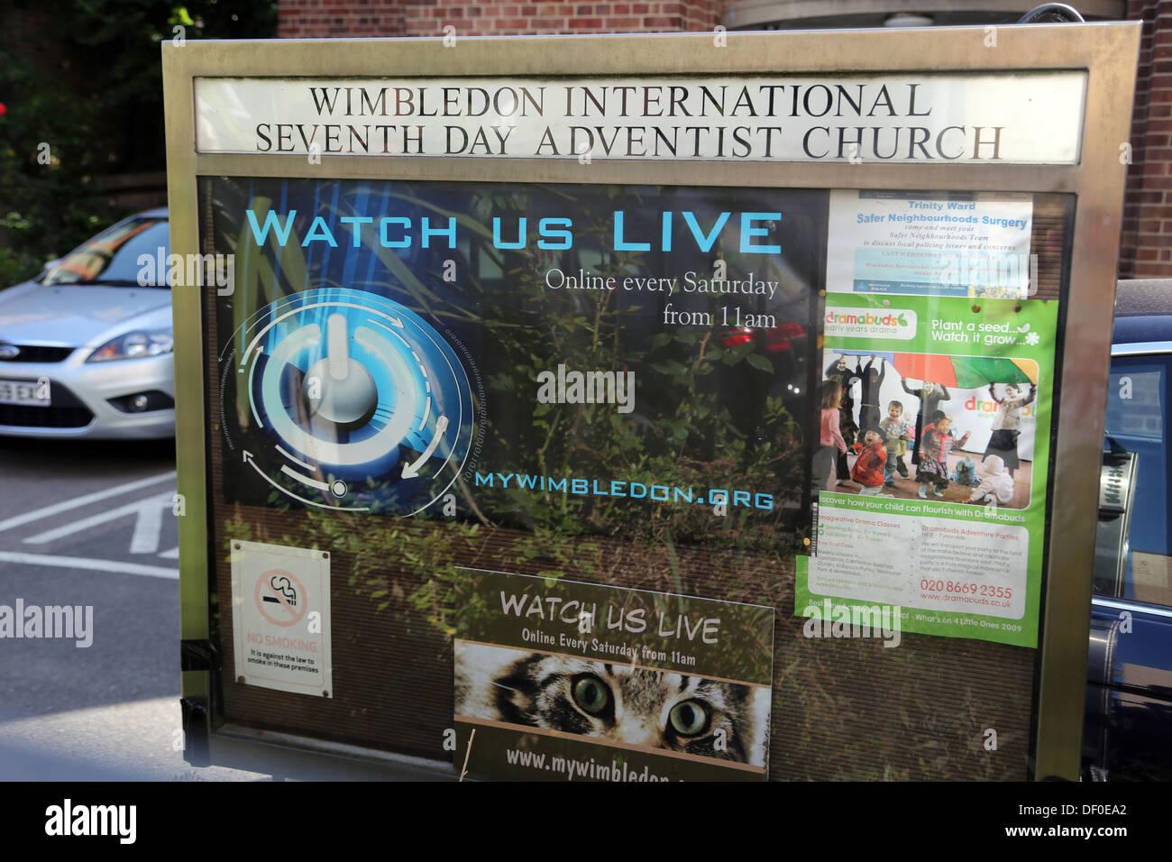 Wimbledon London England Wimbledon International Seventh Day Adventist Church Noticeboard - Stock Image