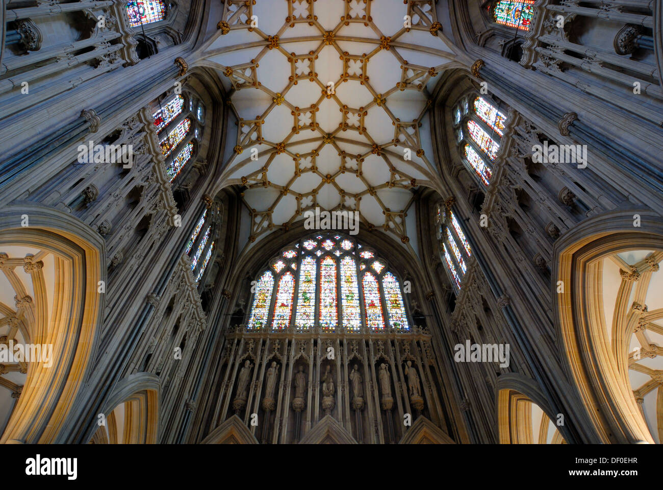 Interior, Wells Cathedral, Wells, Somerset, England, United Kingdom, Europe - Stock Image