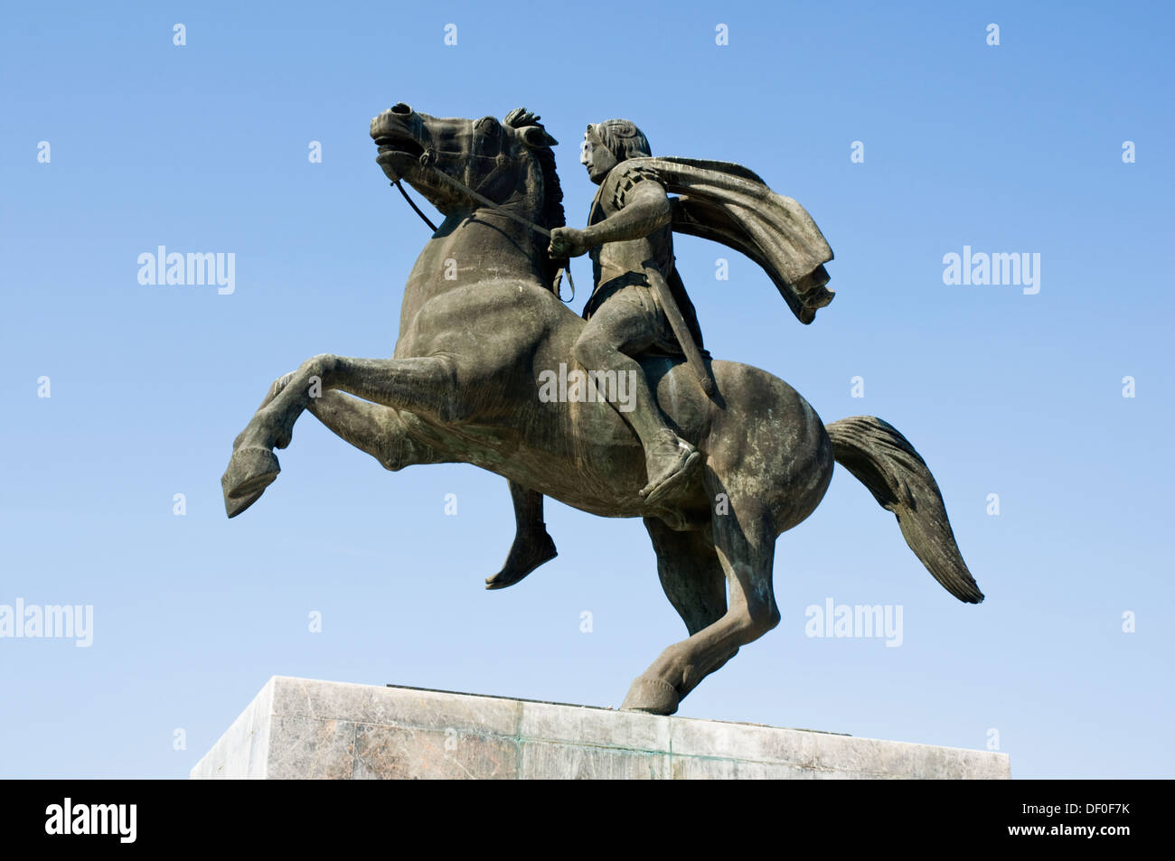 EUROPE, Greece, Thessaloniki, Alexander the Great monument on the waterfront, Alexander on horseback - Stock Image