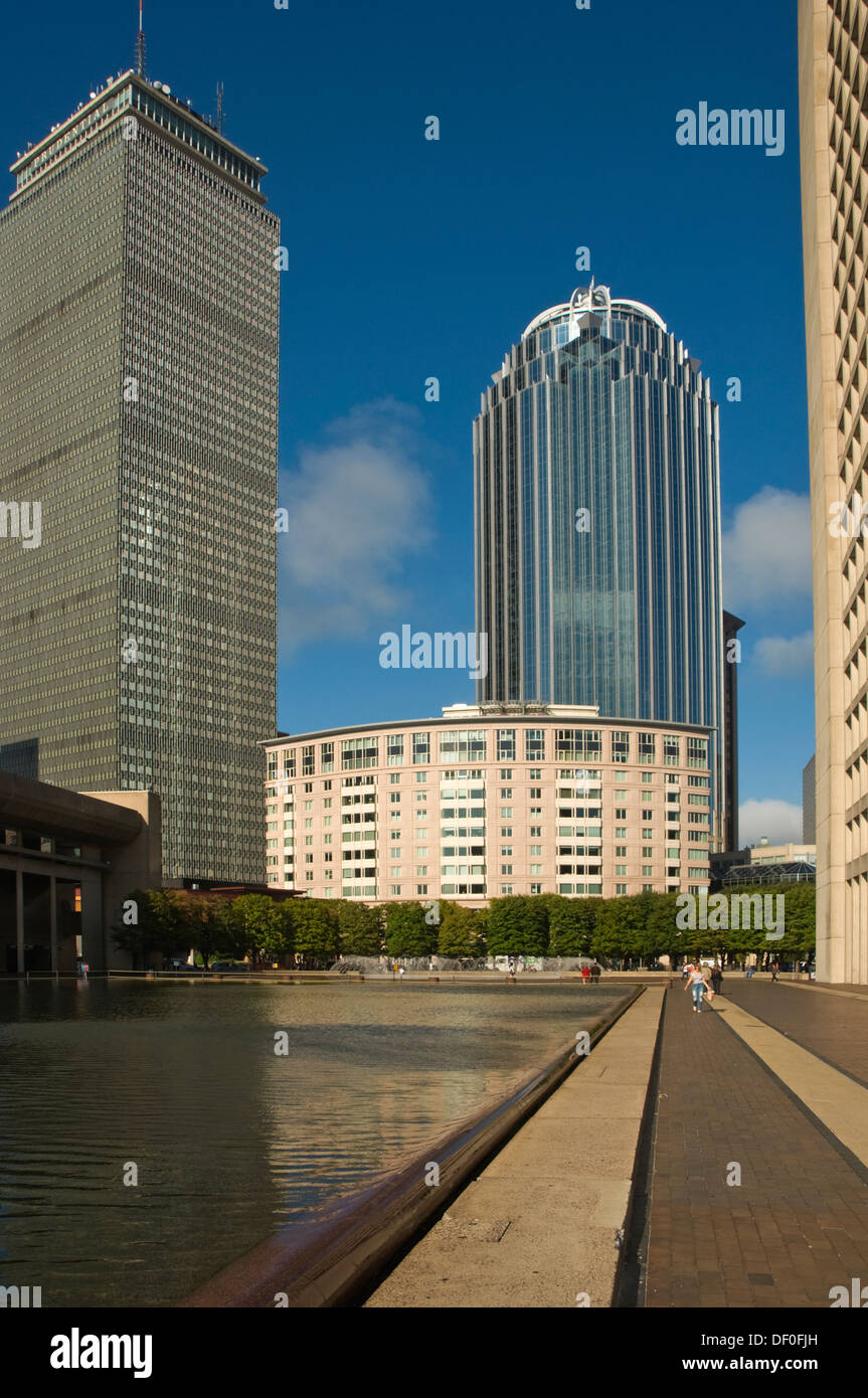 UNITED STATES OF AMERICA, USA, New England, Massachusetts, Boston, Reflecting Pool with Prudential Centre at rear - Stock Image