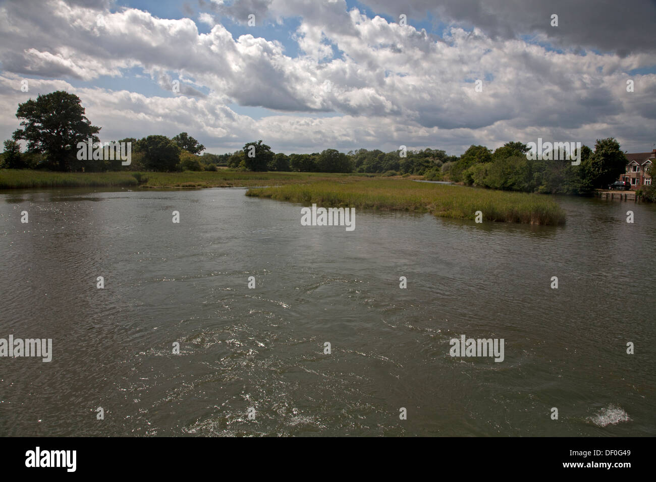 bartley water eling reach eling hampshire england - Stock Image