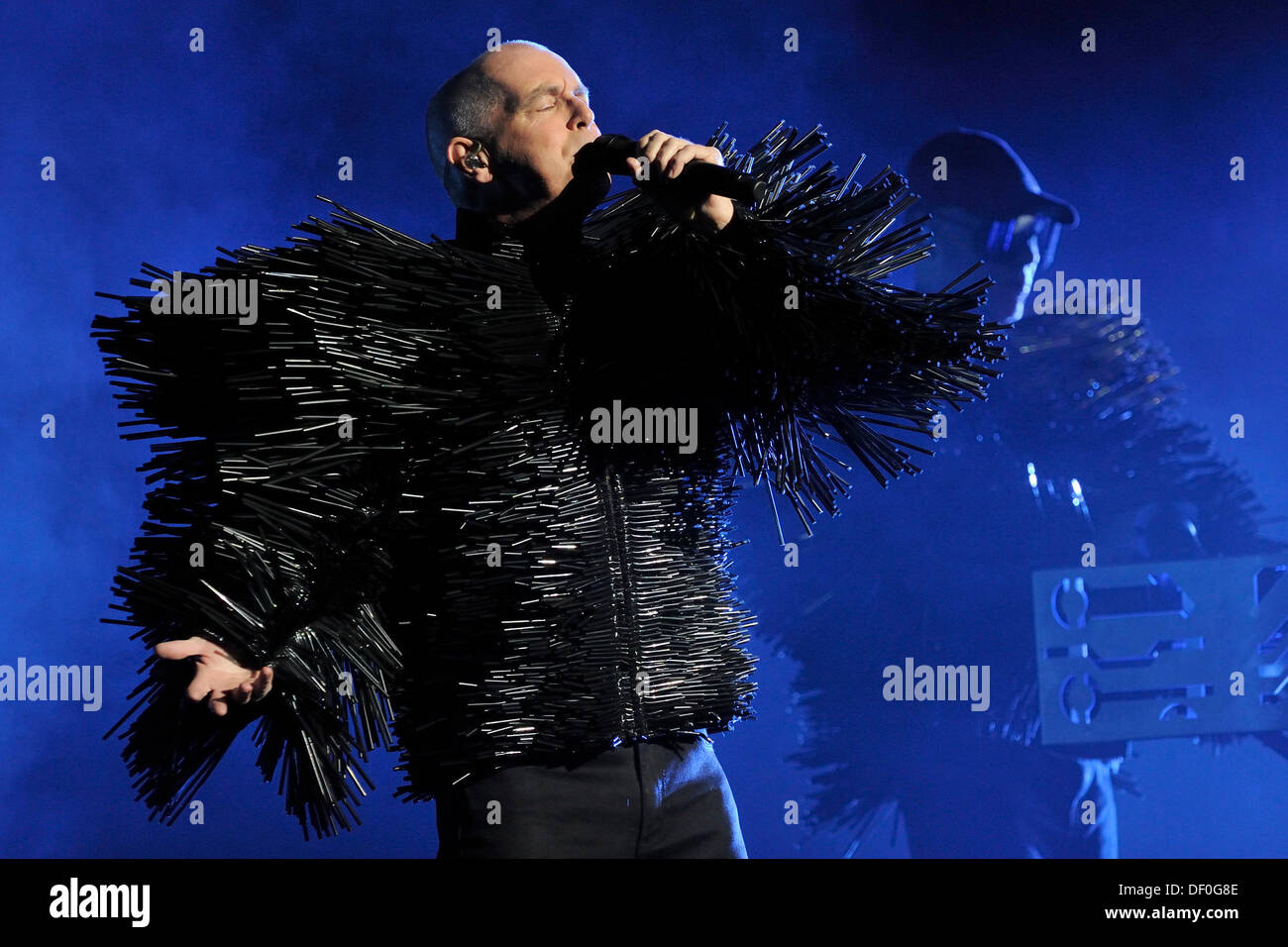 Toronto, Canada. 25th Sep 2013. English electronic pop duo, Pet Shop Boys, performs at Toronto's Sony Centre for the Performing Arts during their world wide Electric Tour. In picture, Neil Tennant. © EXImages/Alamy Live News - Stock Image