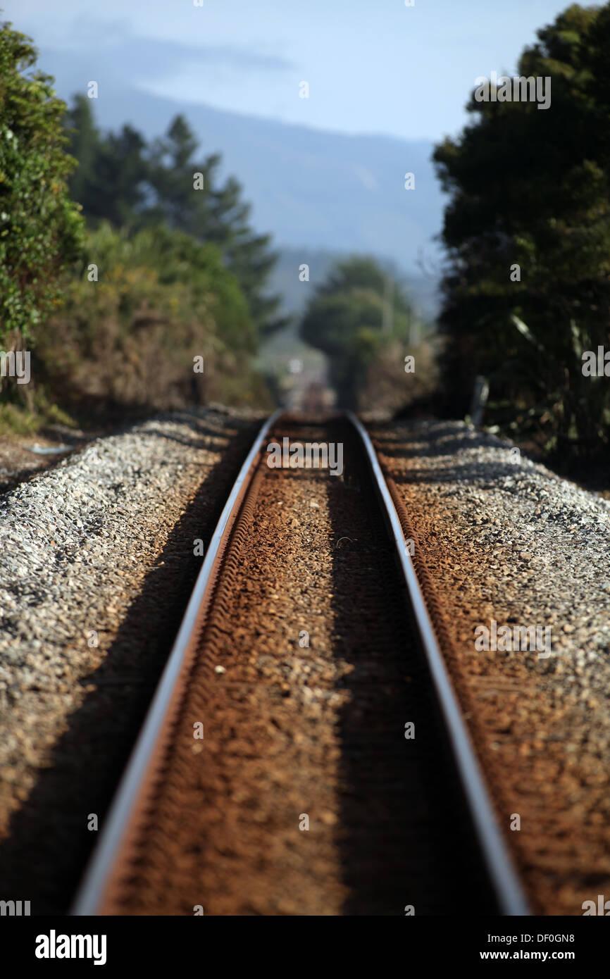 Train line near Granity, where the Denniston Coal mine still operates, South Island, New Zealand - Stock Image