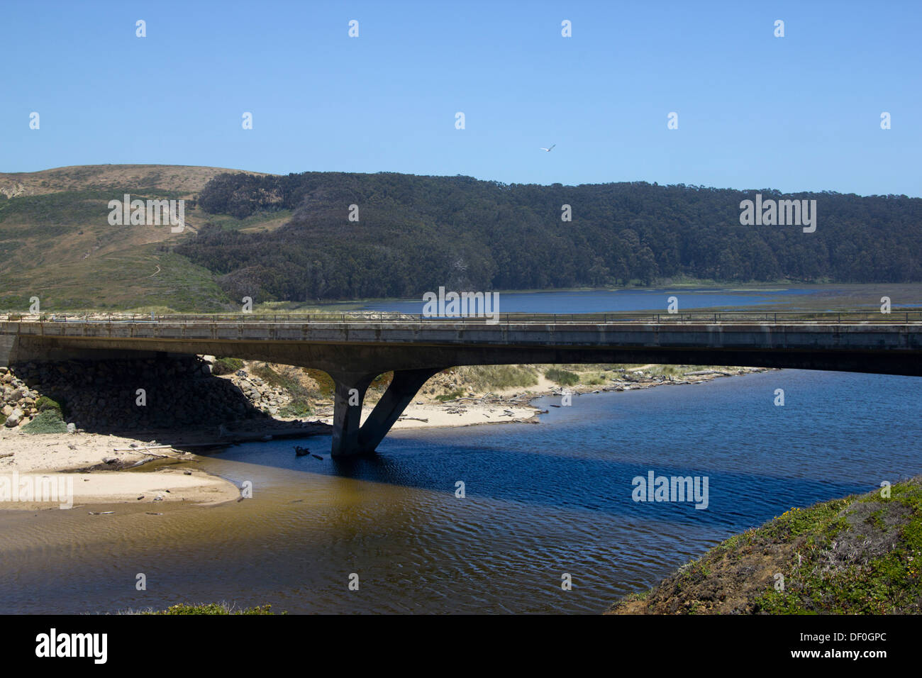 PCH Hwy1 Bridge over Pescadero creek near Pescadero Marsh Natural Preserve - Stock Image