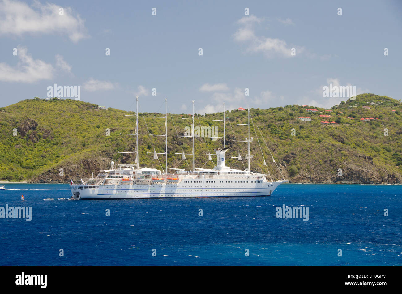 French West Indies, Caribbean island of Saint Barthelemy (St. Bart's), capital city of Gustavia. Club Med ship, Club Med 2 - Stock Image