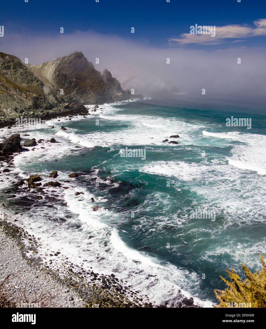 panoramic Composite image of Highway 1, Pacific Coast Highway (PCH), Cabrillo Highway, Shoreline Highway, or Coast - Stock Image