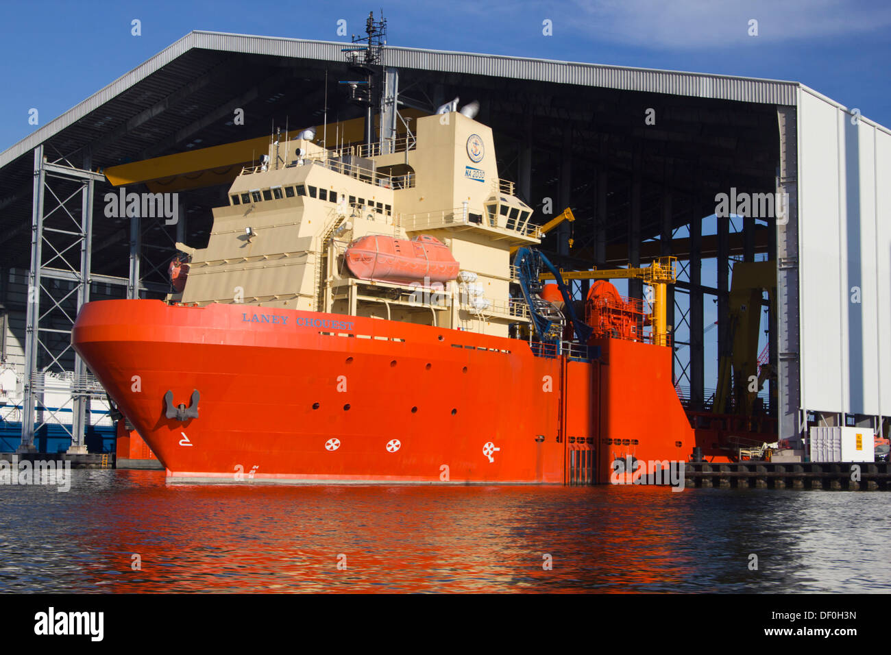 Edison Chouest Offshore (ECO)  vessel at Port Fourchon. Laney Chouest multi-purpose supply vessel used for deepwater Stock Photo