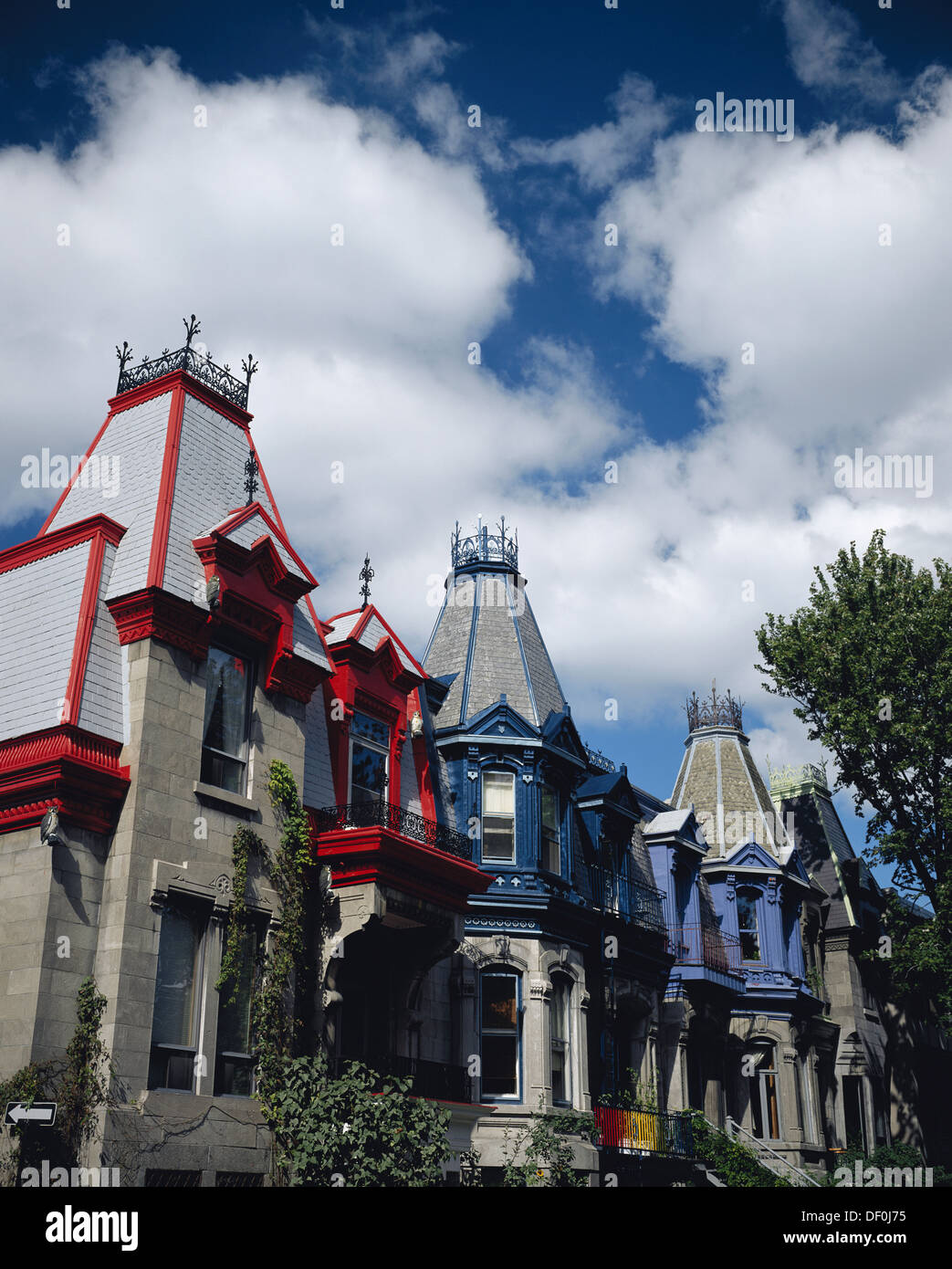 Canada, Quebec, Montreal, Colorful Houses at Saint-Louis Square. - Stock Image