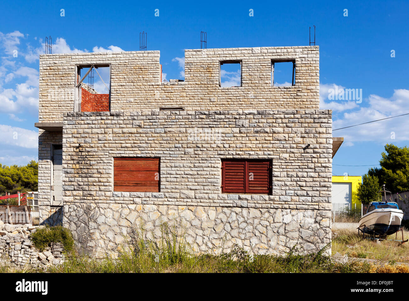 New house overlooking the Mediterranean Sea - Stock Image