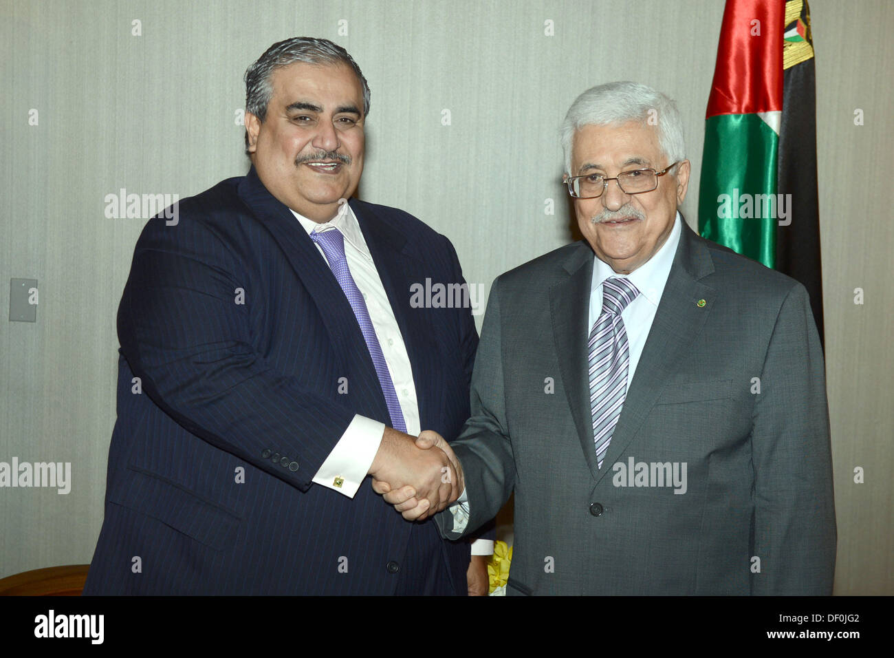 New York, New York, USA. 25th Sep, 2013. Palestinian President Mahmoud Abbas meets with Foreign Minister of Bahrain Stock Photo