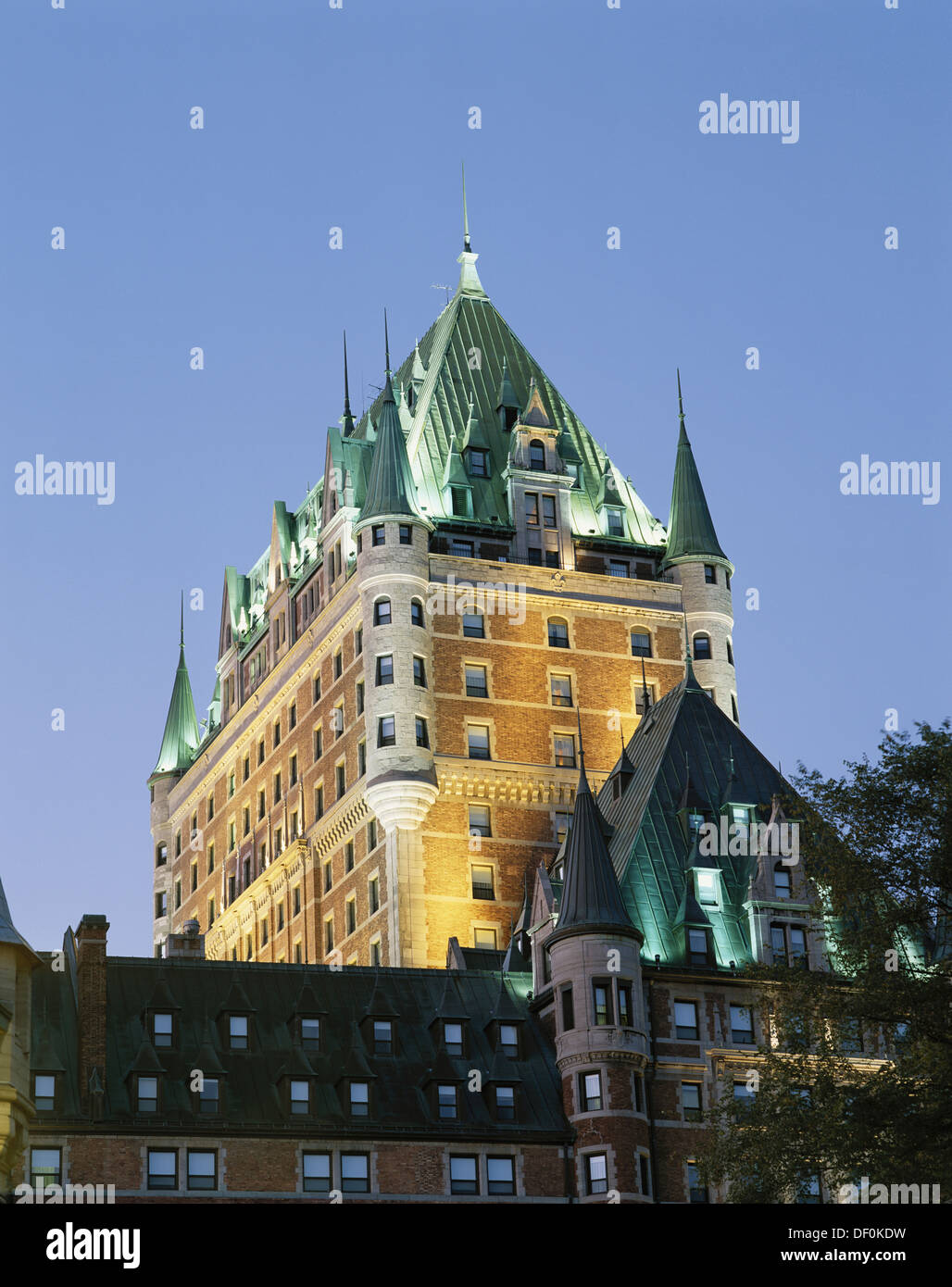 Canada, Quebec, Quebec City, Chateau Frontenac roof detail. - Stock Image