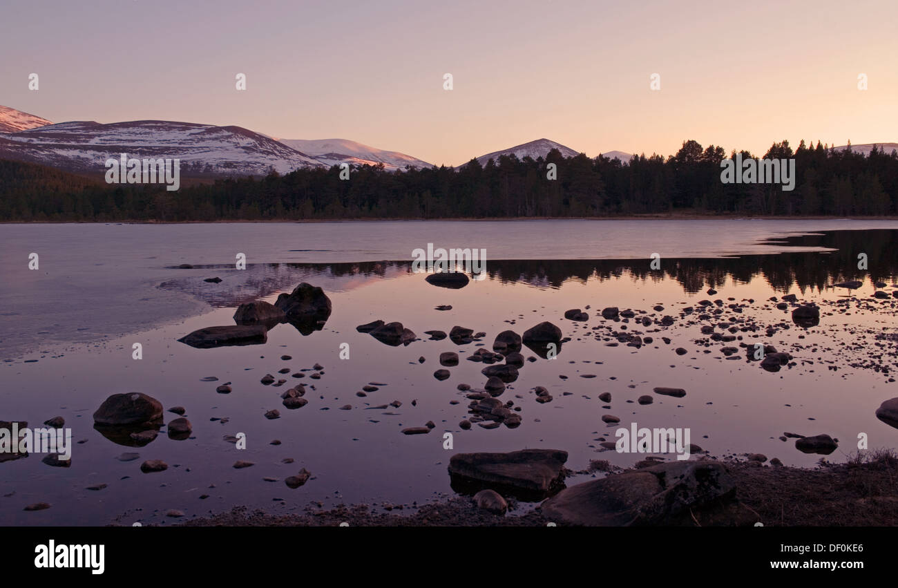 Calm winter evening, Loch Morlich near Aviemore, Glenmore Forest Park, Cairngorms National Park, Scottish Highlands, Stock Photo
