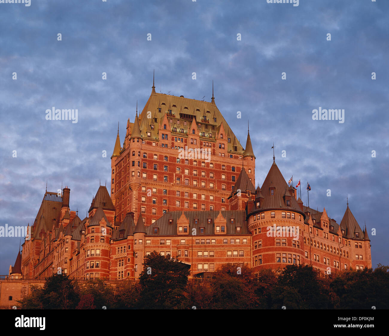 Canada, Quebec, Quebec City, Chateau Frontenac with dawn light. - Stock Image