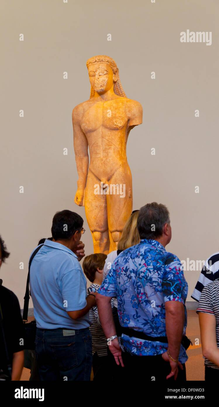 Archaic sculpture of Kouros, National Archaeological Museum, Athens, Greece - Stock Image