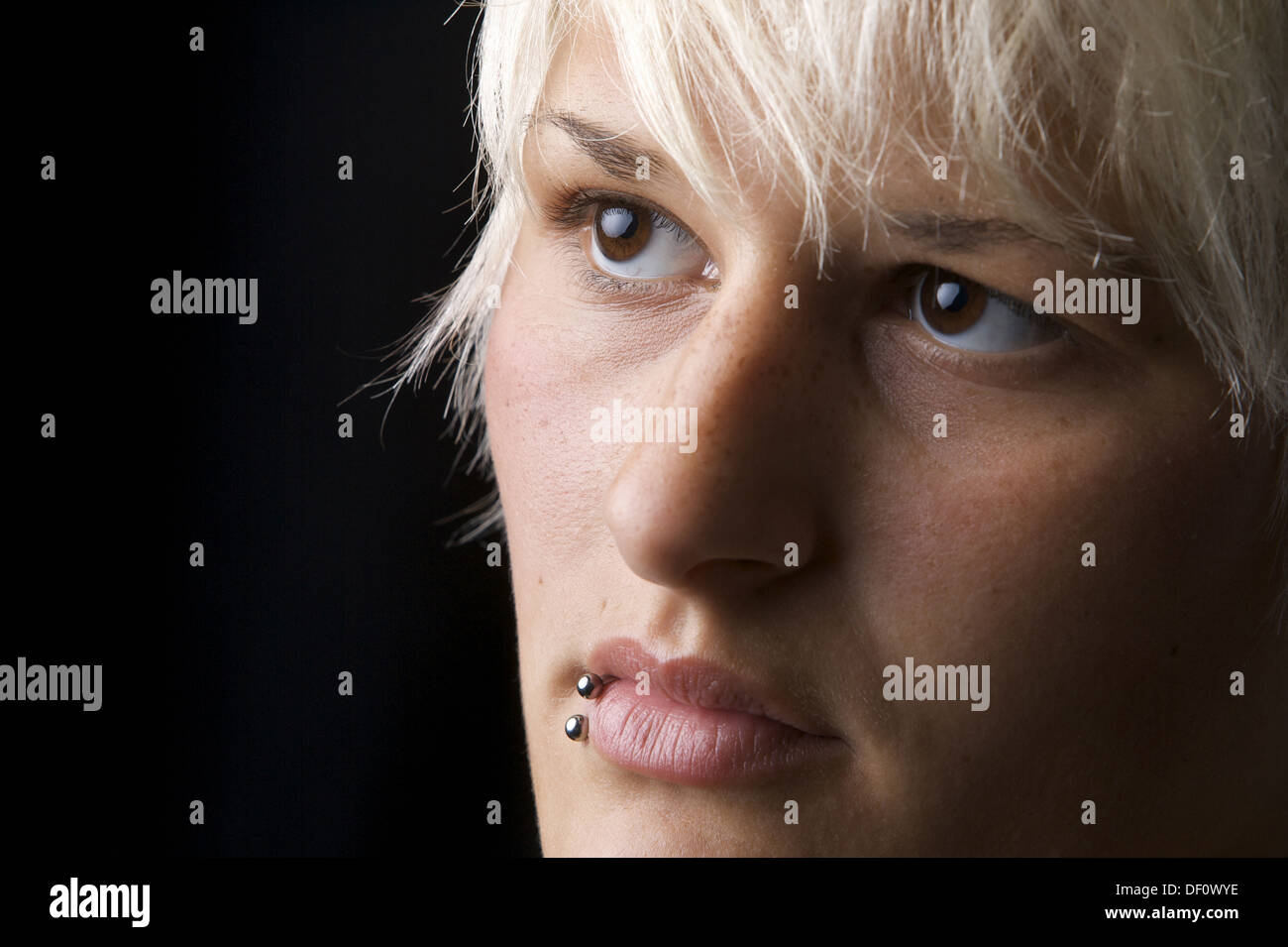 Herne, Germany, portrait photograph of a woman pierced Stock Photo