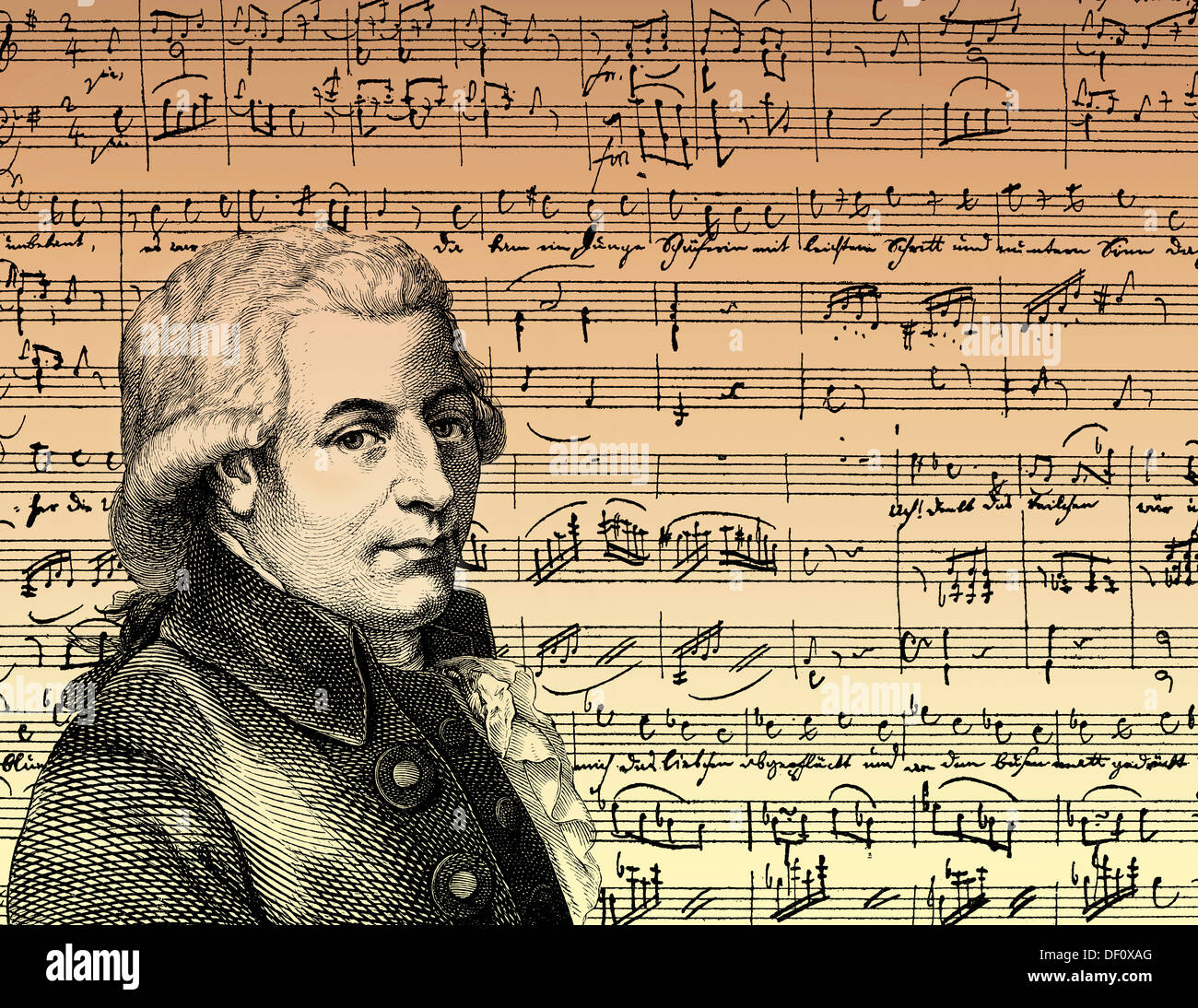 Wolfgang Amadeus Mozart, 1756 - 1791, a composer of the First Viennese School - Stock Image
