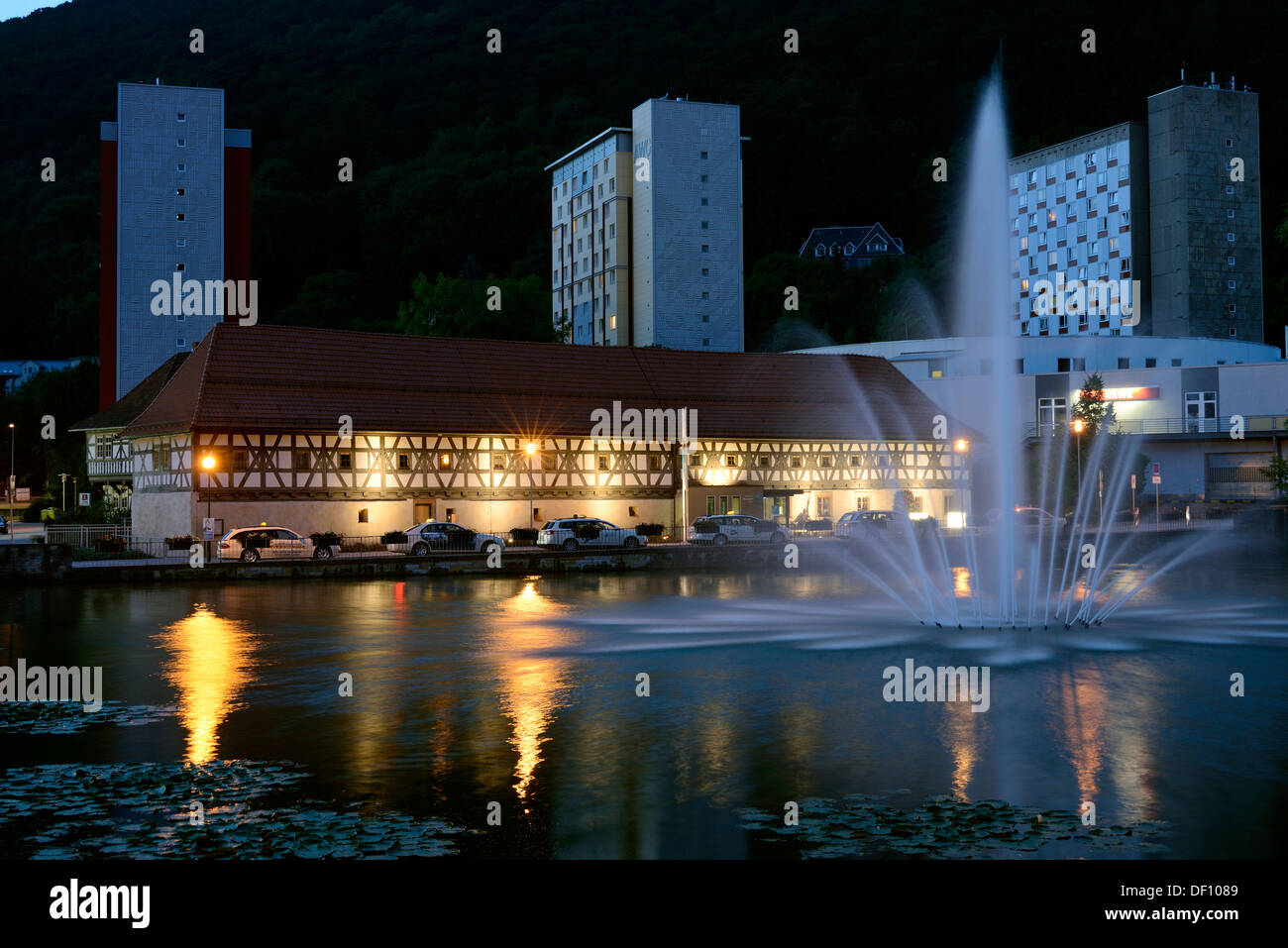 Timber-framed building of the weapon museum and tower block, Thuringia, Suhl, Fachwerkbau des Waffenmuseums und Wohnhochhaus, Th - Stock Image
