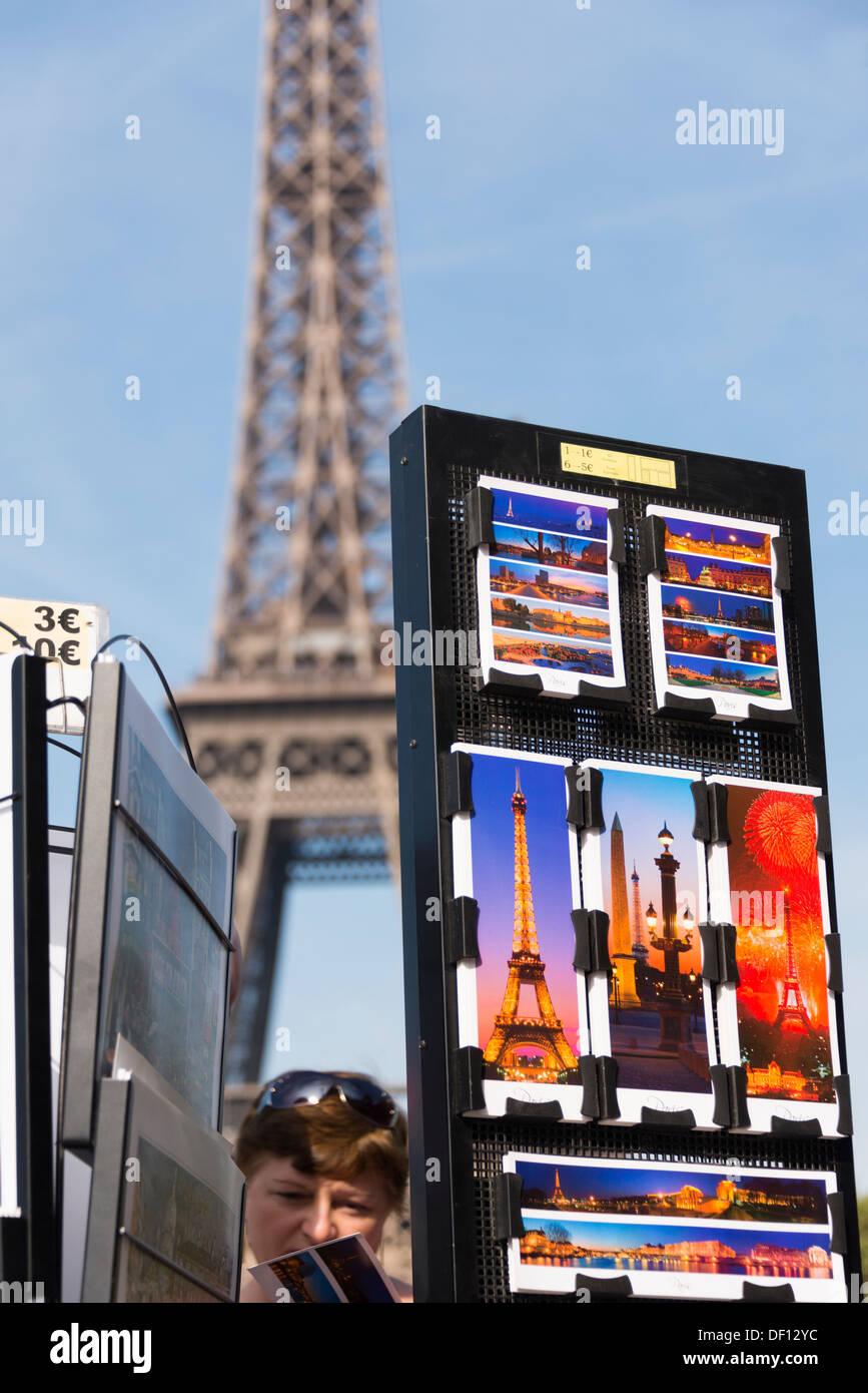Shopping for postcards, Champs de Mars, Paris, France Stock Photo