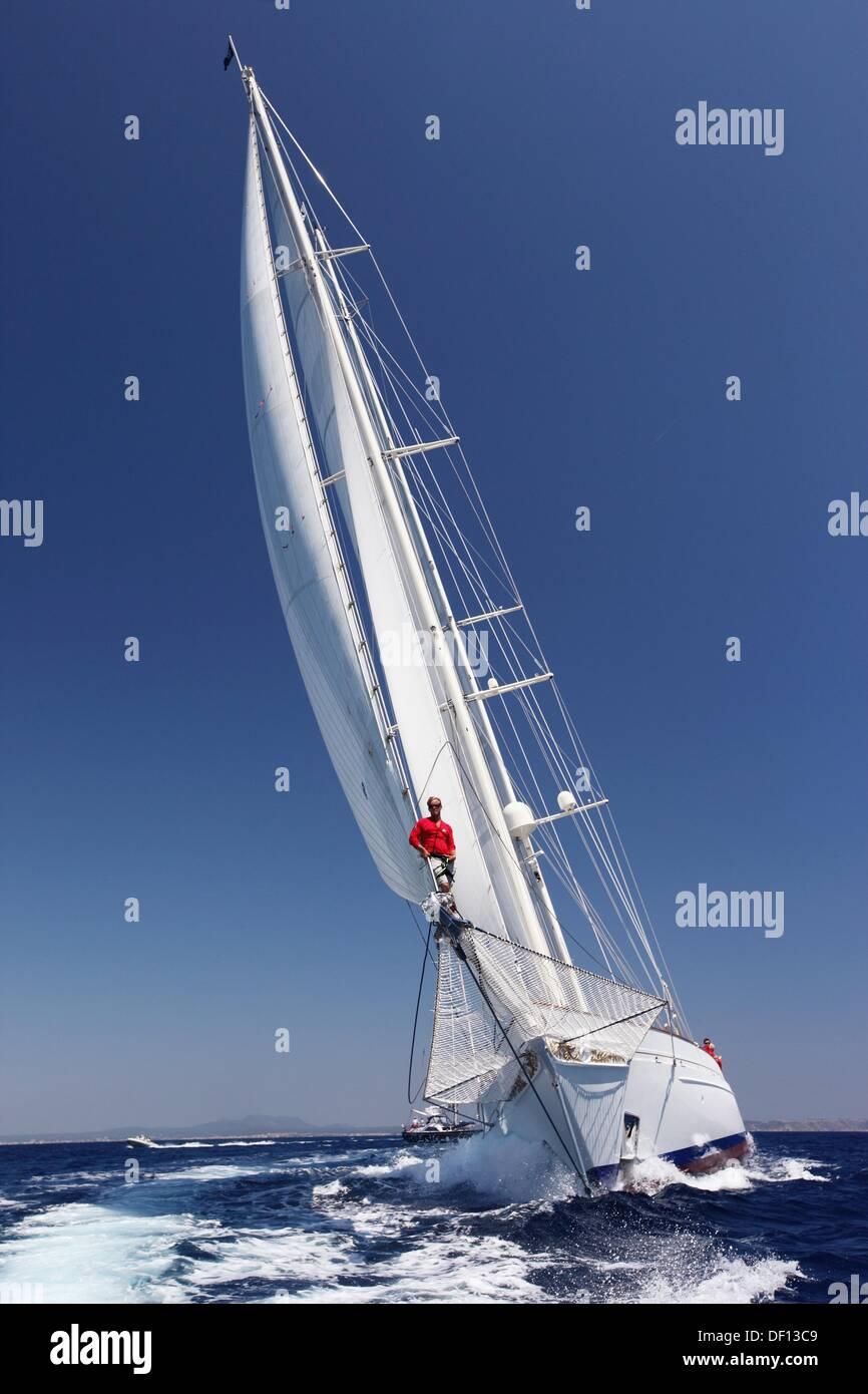 Adela in the Superyacht Cup In Palma de Mallorca, Spain Stock Photo