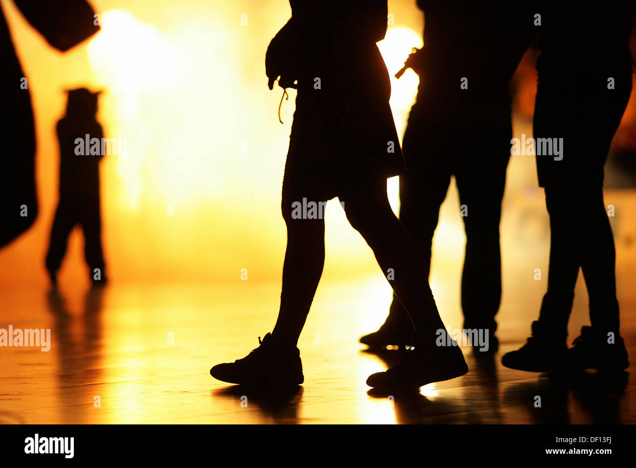 Berlin, Germany, silhouettes of legs Stock Photo