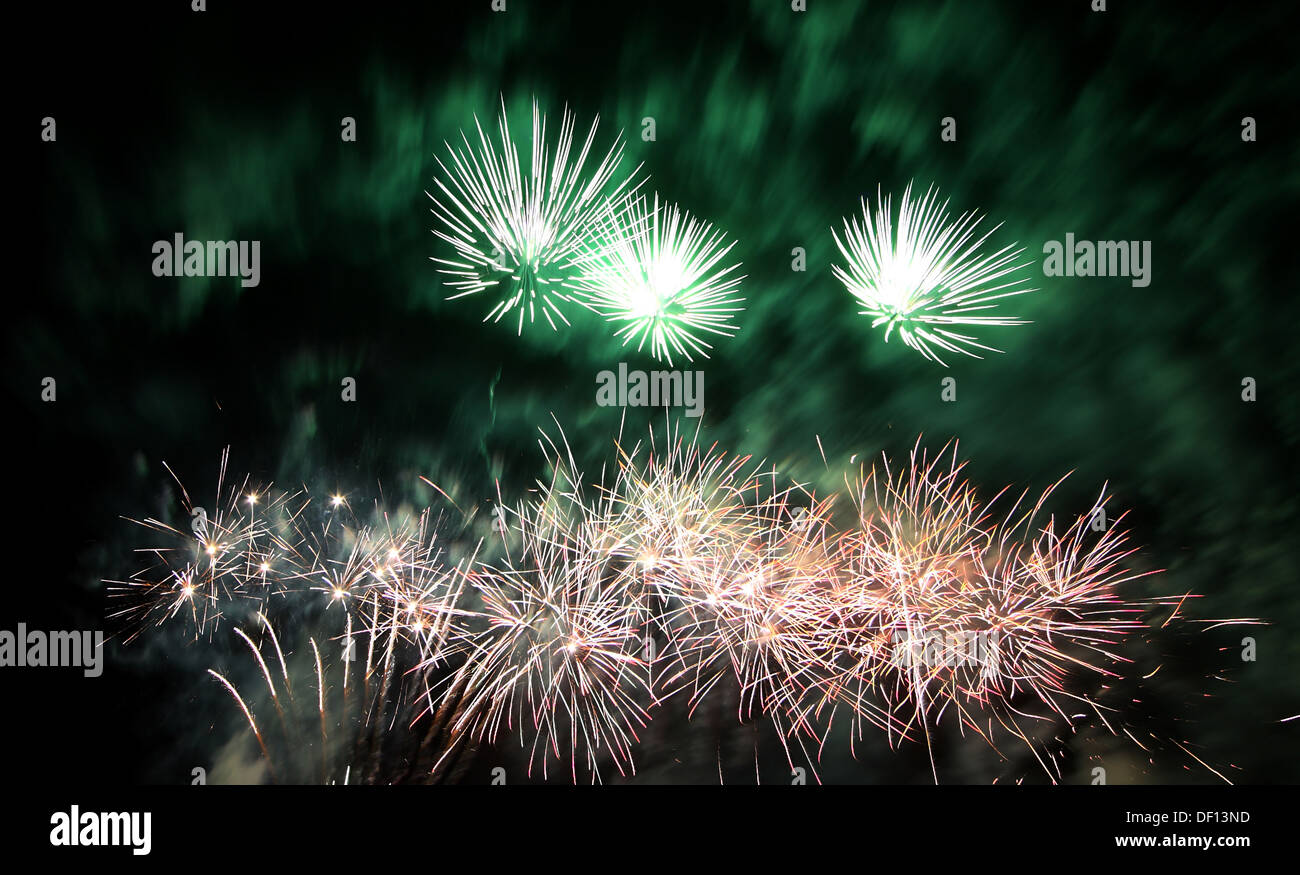 Berlin, Germany, fireworks on the Pyroworld 2011 Stock Photo