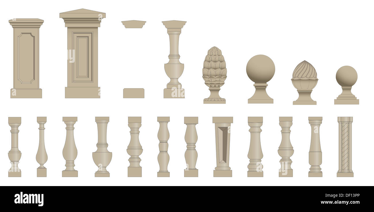 Set  of silhouettes balusters - Stock Image