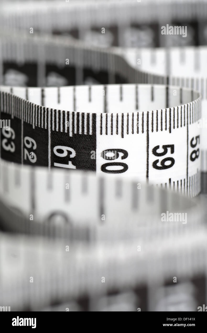 Black And White Centimeter In Macro With Numbers 90 And 60 - Stock Image