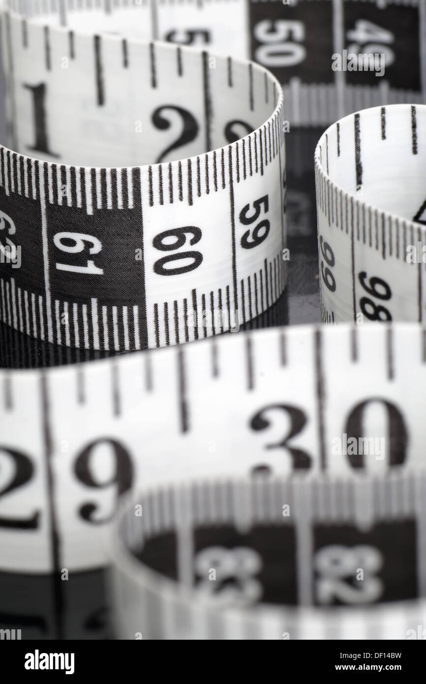 Black And White Centimeter In Macro With Numbers 30 And 60 - Stock Image