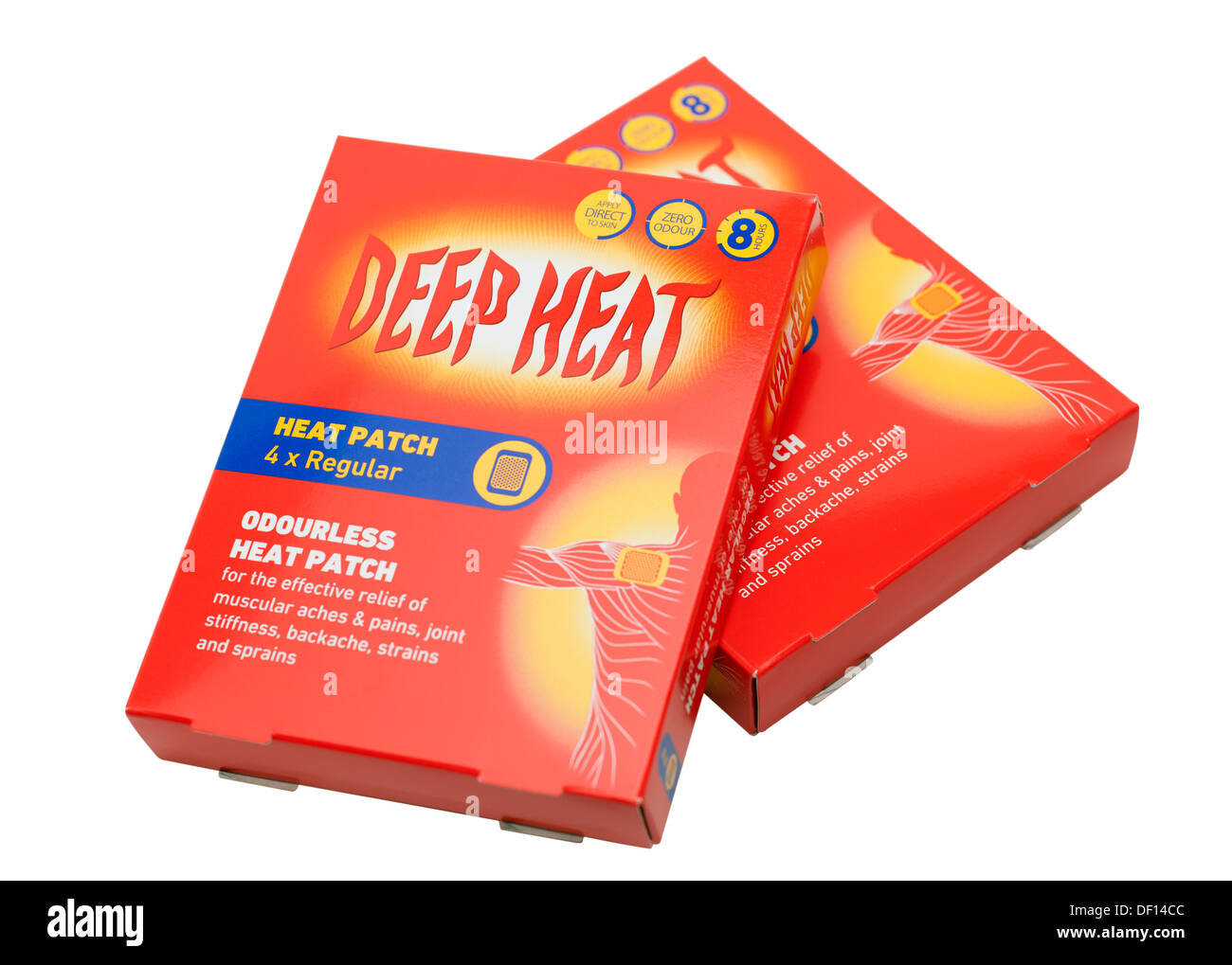 Two boxes of zero odour odourless Deep Heat 8 hour patches for pain relief - Stock Image