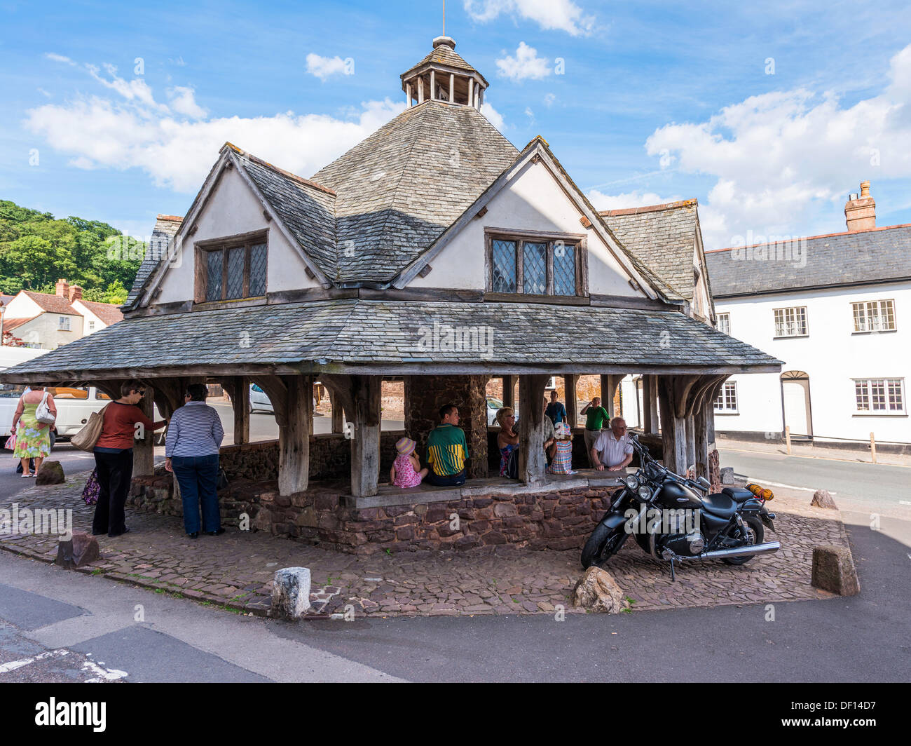 Dunster, Somerset,England. August 8th 2013. The Yarn Market building, built in approximately 1590. A medieval centre for wool. - Stock Image