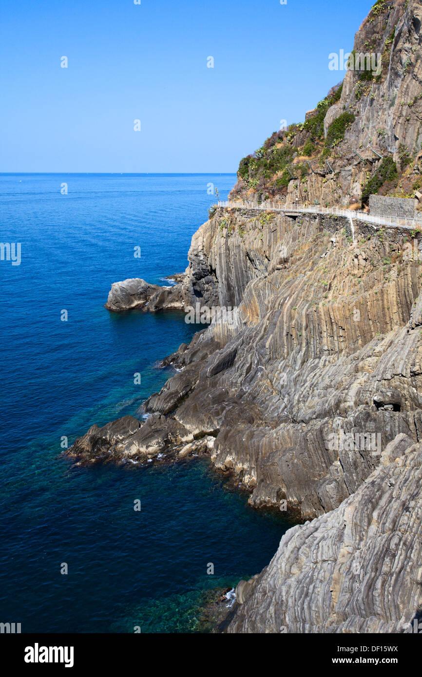 The Via dell Amore near Riomaggiore Cinque Terre Liguria Italy - Stock Image