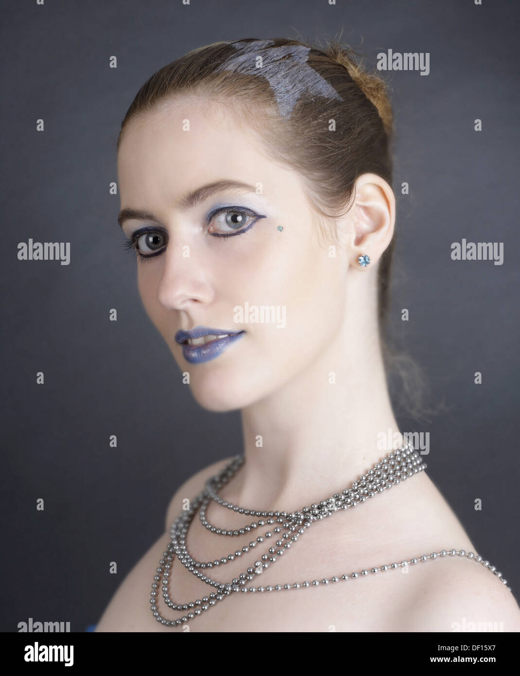 Schwentinental, Germany, pale young woman with a necklace Stock Photo
