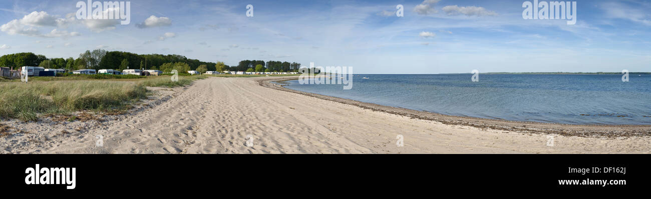 Eckernfoerde, Germany, panoramic image of a deserted beach Stock Photo