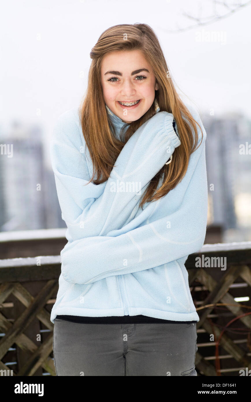 A 15 Year Old Girl, Outdoors, Smiling Stock Photo