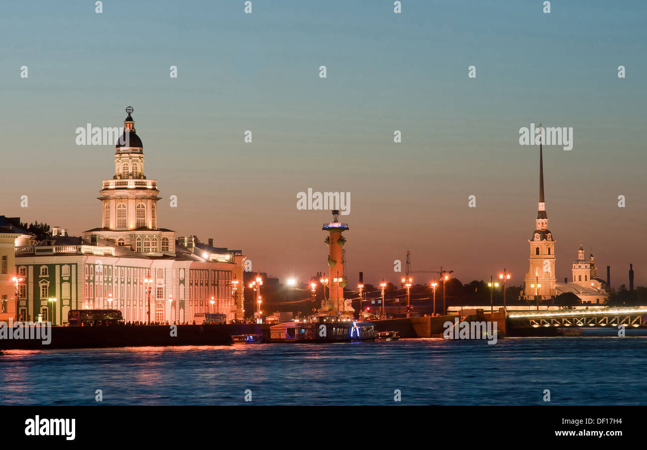 Saint Petersburg, Russia, view over the Neva River at night Stock Photo